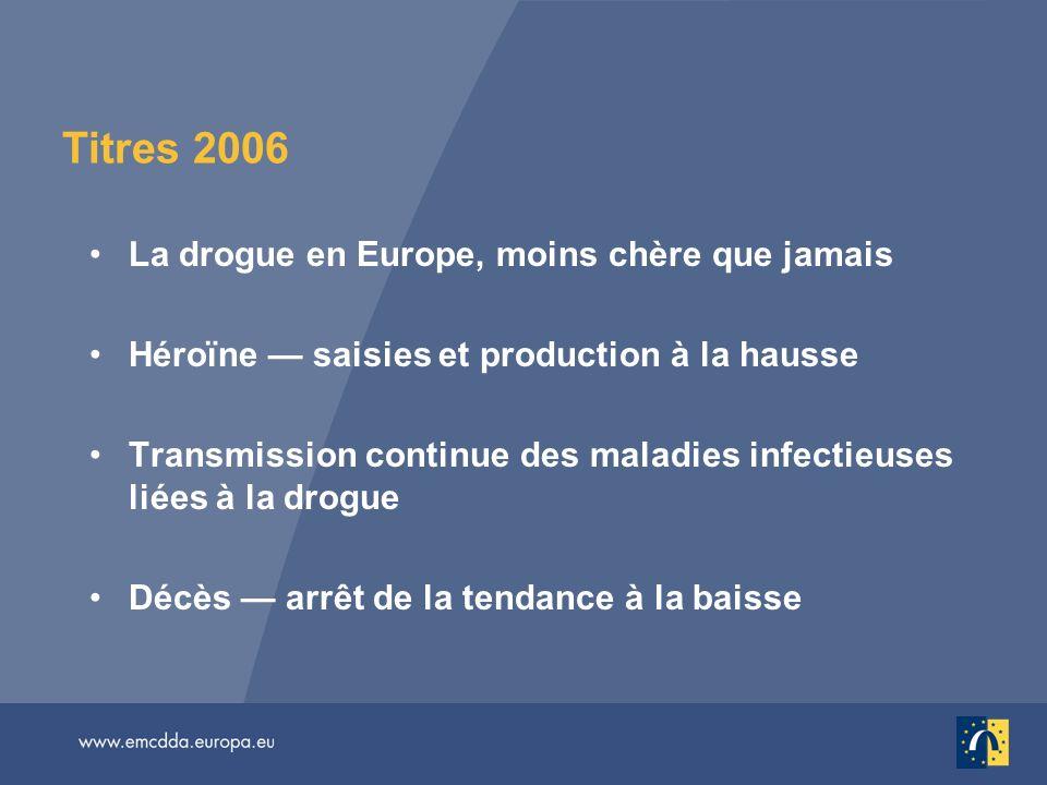 Titres 2006 La drogue en Europe, moins chère que jamais