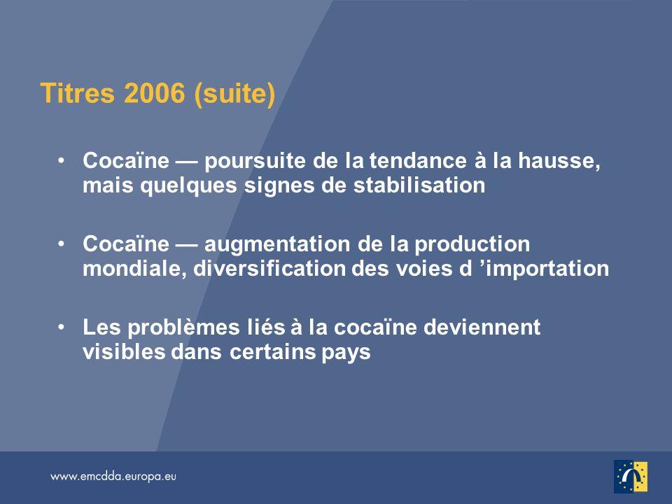 Titres 2006 (suite) Cocaïne — poursuite de la tendance à la hausse, mais quelques signes de stabilisation.