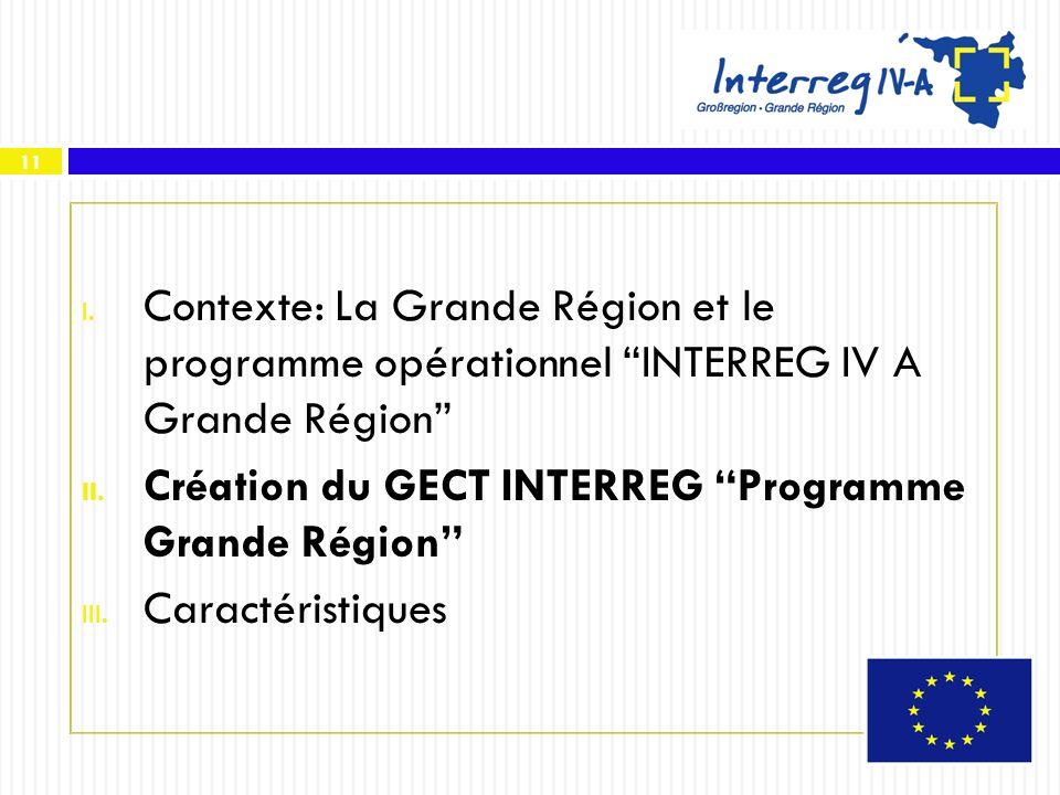 Création du GECT INTERREG Programme Grande Région Caractéristiques