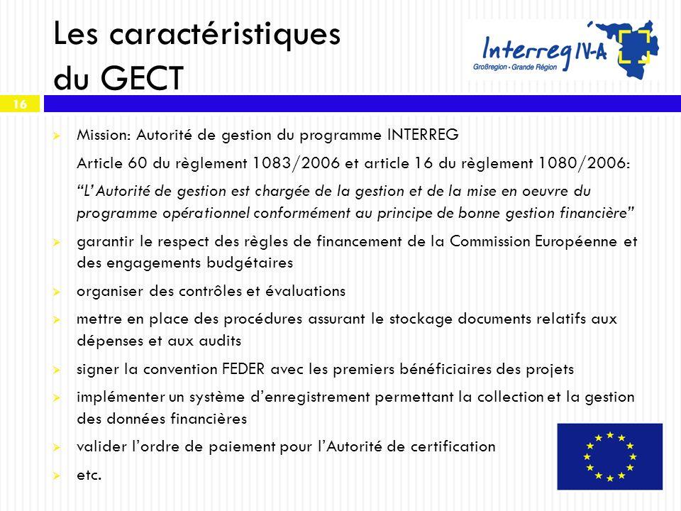 Les caractéristiques du GECT