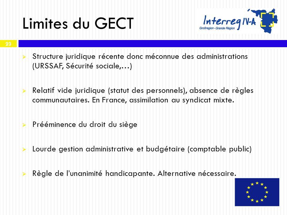 Limites du GECT Structure juridique récente donc méconnue des administrations (URSSAF, Sécurité sociale,…)