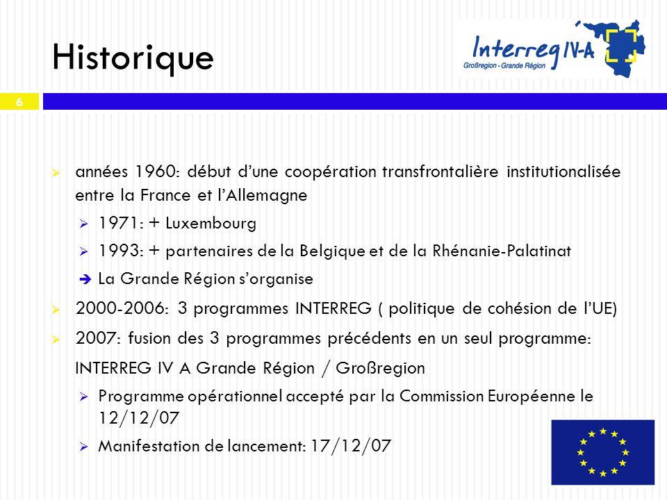 Historique années 1960: début d'une coopération transfrontalière institutionalisée entre la France et l'Allemagne.