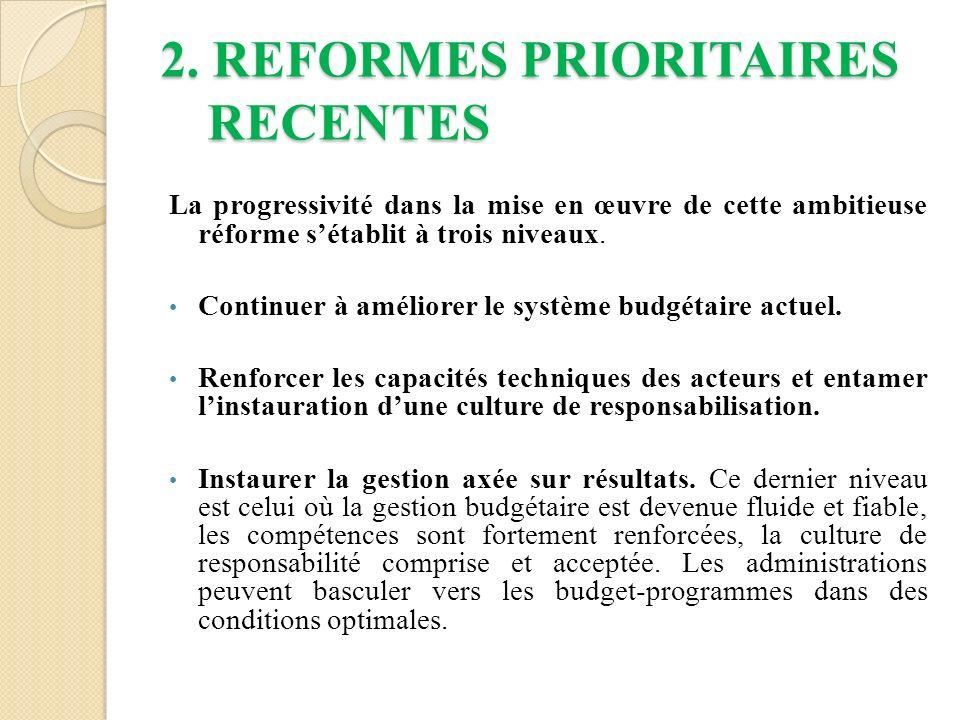 2. REFORMES PRIORITAIRES RECENTES