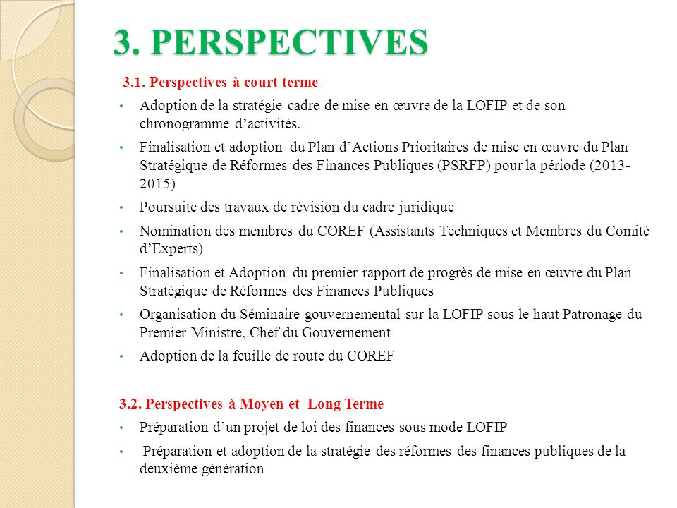 3. PERSPECTIVES 3.1. Perspectives à court terme