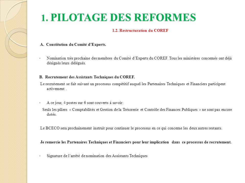 1.2. Restructuration du COREF