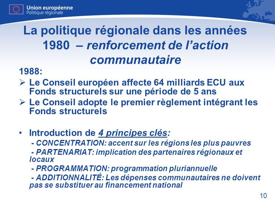 La politique régionale dans les années 1980 – renforcement de l'action communautaire