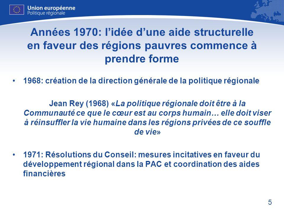 Années 1970: l'idée d'une aide structurelle en faveur des régions pauvres commence à prendre forme