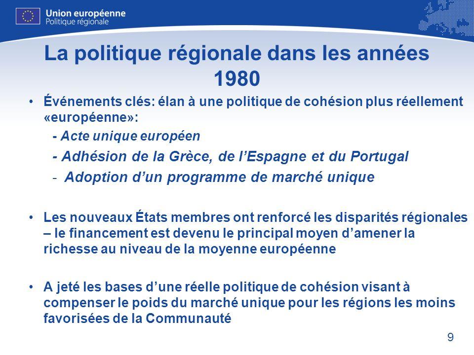 La politique régionale dans les années 1980