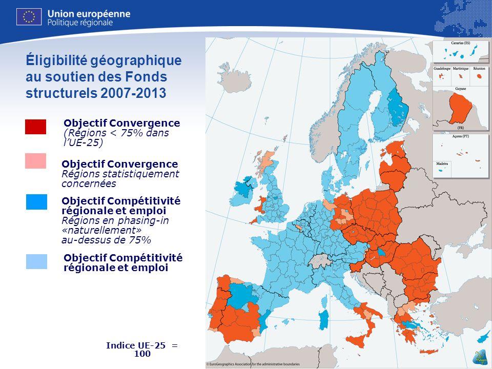 Éligibilité géographique au soutien des Fonds structurels 2007-2013