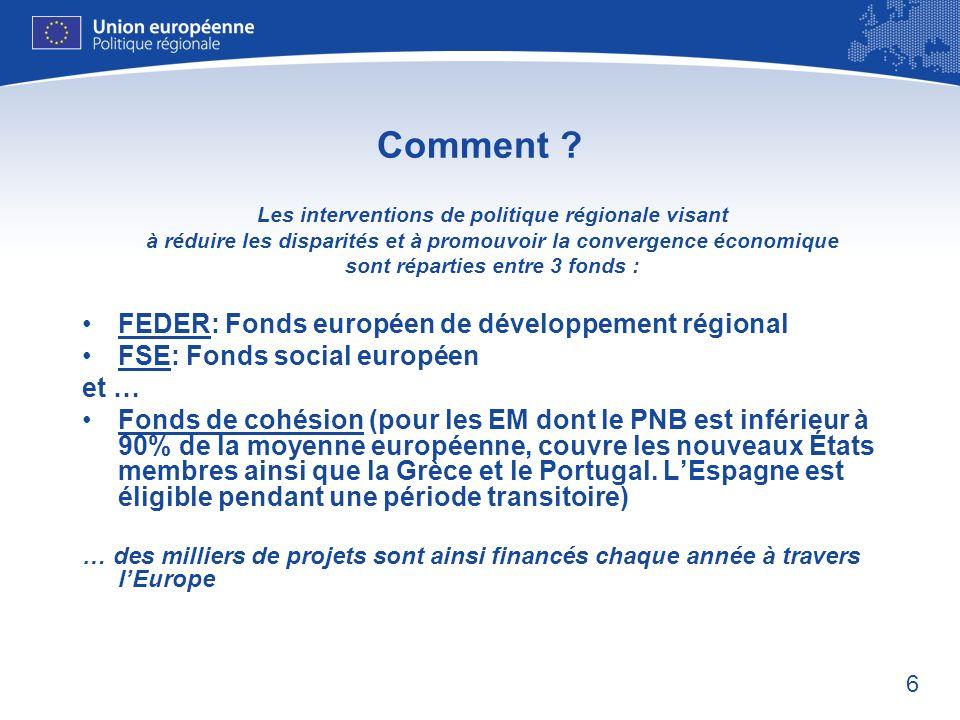Comment FEDER: Fonds européen de développement régional