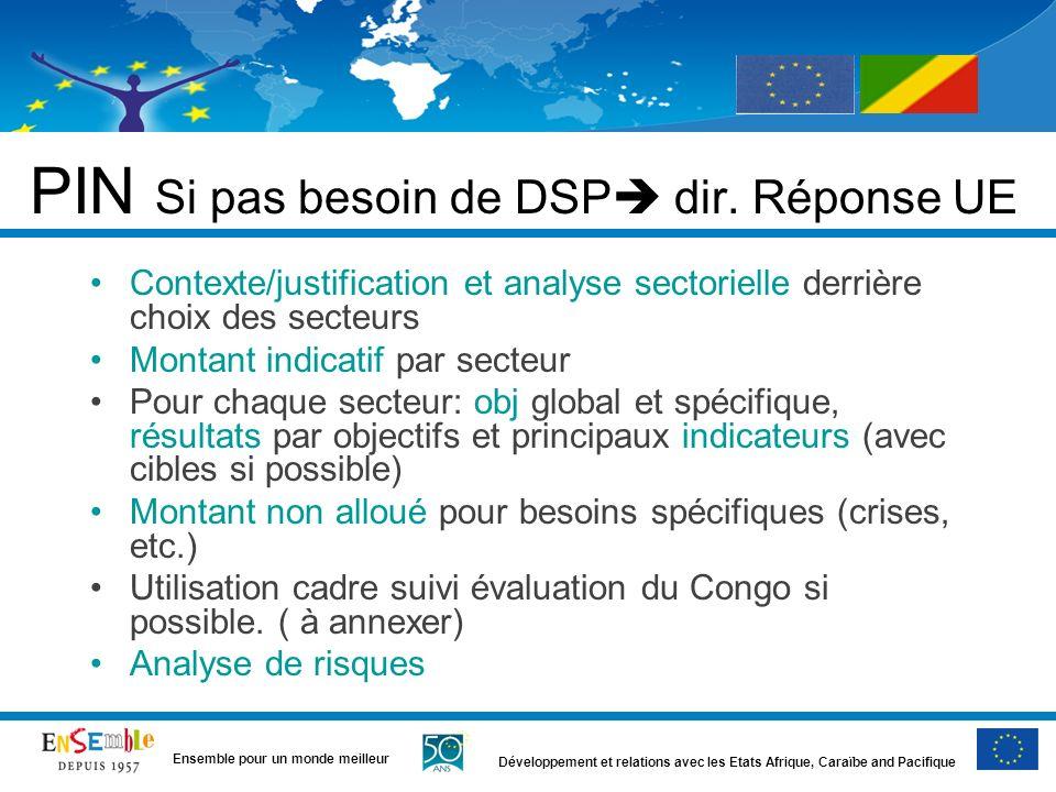 PIN Si pas besoin de DSP dir. Réponse UE