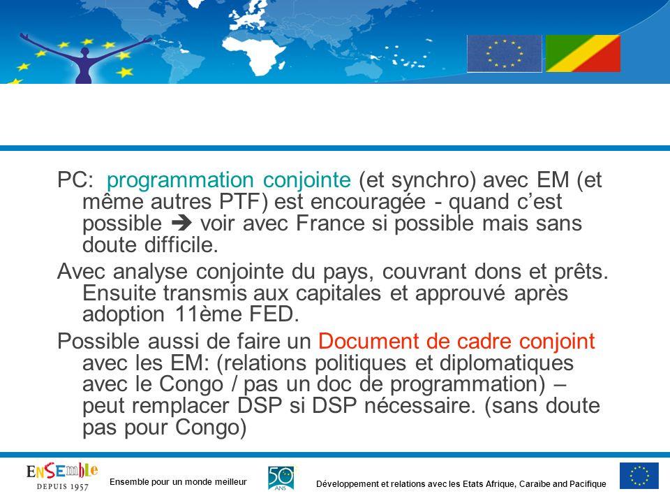 PC: programmation conjointe (et synchro) avec EM (et même autres PTF) est encouragée - quand c'est possible  voir avec France si possible mais sans doute difficile.