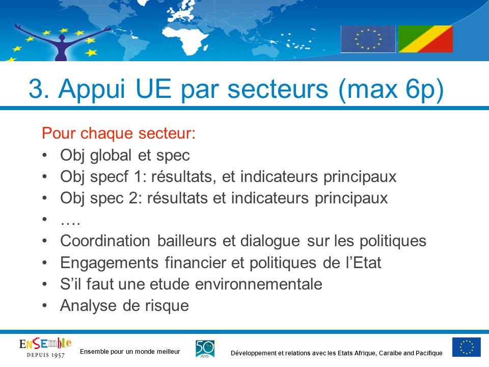 3. Appui UE par secteurs (max 6p)