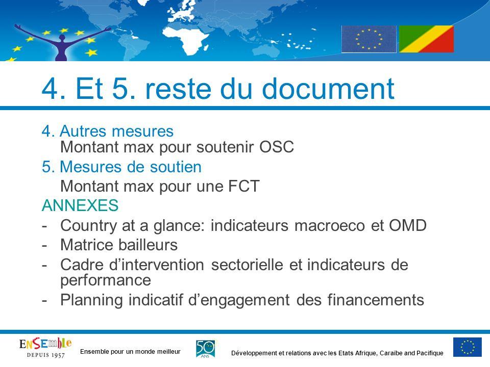 4. Et 5. reste du document 4. Autres mesures Montant max pour soutenir OSC. 5. Mesures de soutien.