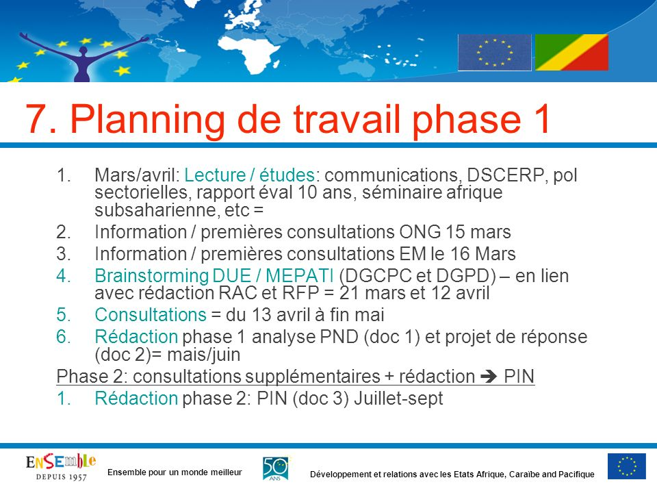 7. Planning de travail phase 1