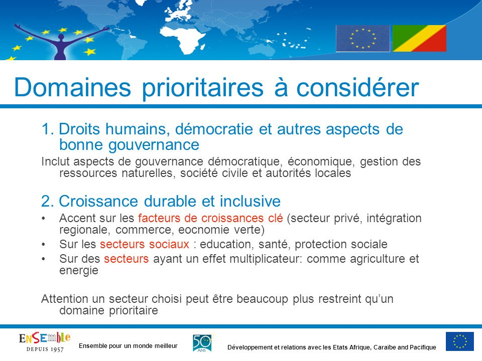 Domaines prioritaires à considérer