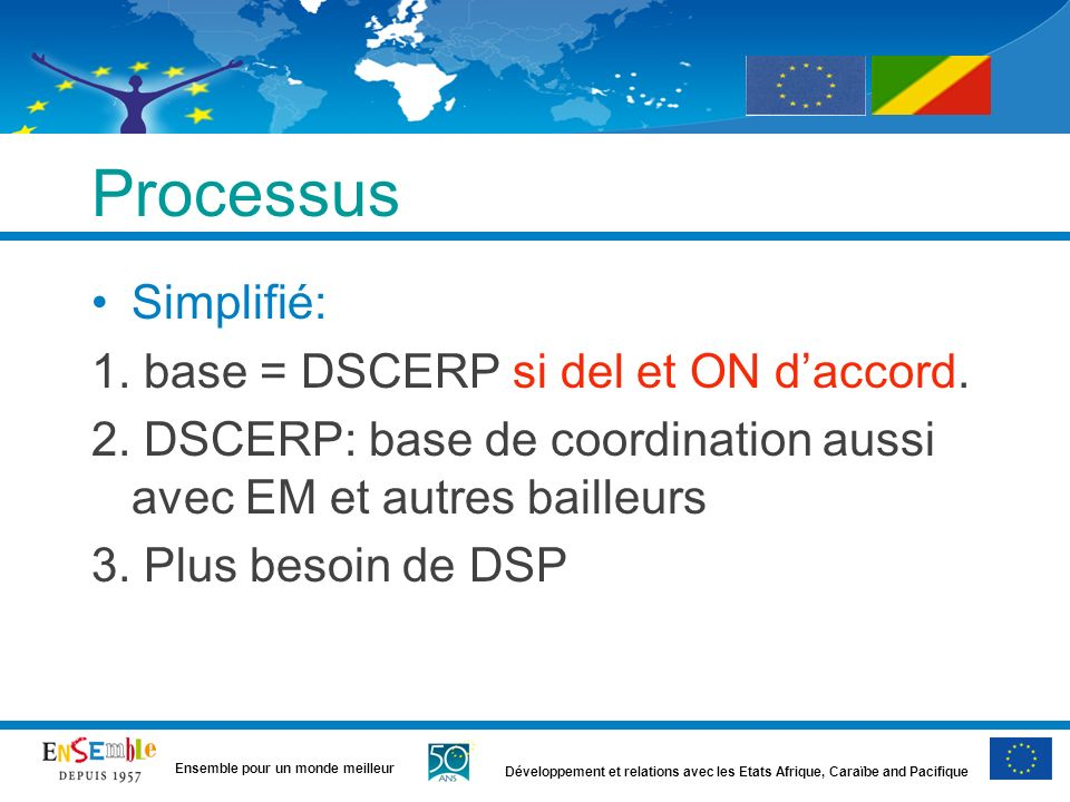 Processus Simplifié: 1. base = DSCERP si del et ON d'accord.