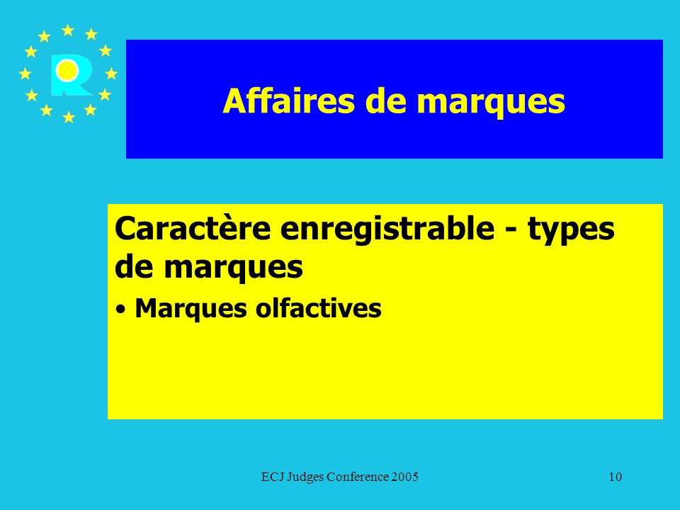 Caractère enregistrable - types de marques Marques olfactives
