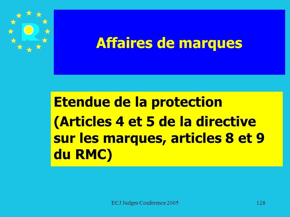 Affaires de marques Etendue de la protection