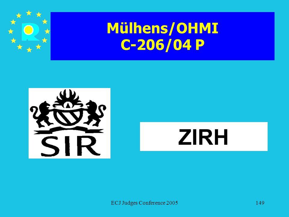 Mülhens/OHMI C-206/04 P ZIRH ECJ Judges Conference 2005