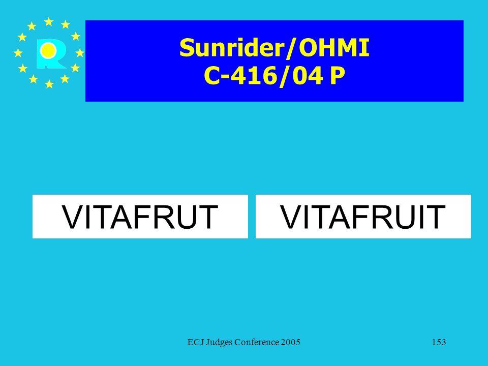 Sunrider/OHMI C-416/04 P VITAFRUT VITAFRUIT ECJ Judges Conference 2005