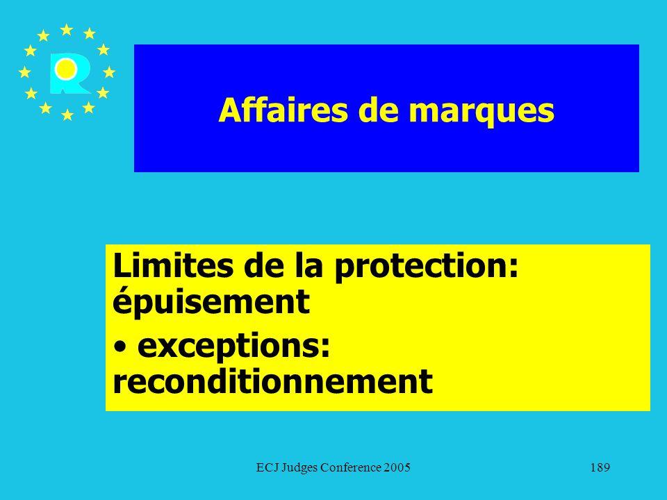 Limites de la protection: épuisement exceptions: reconditionnement