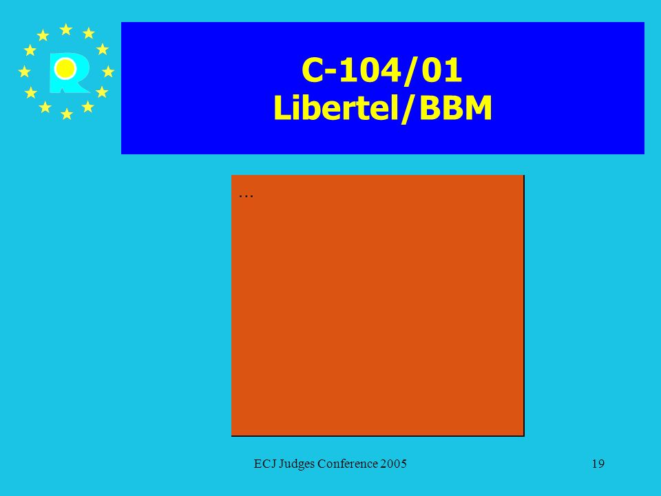 C-104/01 Libertel/BBM ECJ Judges Conference 2005