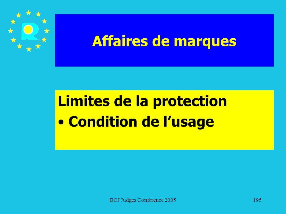 Limites de la protection Condition de l'usage