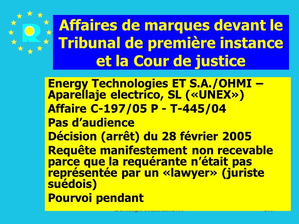 Affaires de marques devant le Tribunal de première instance et la Cour de justice
