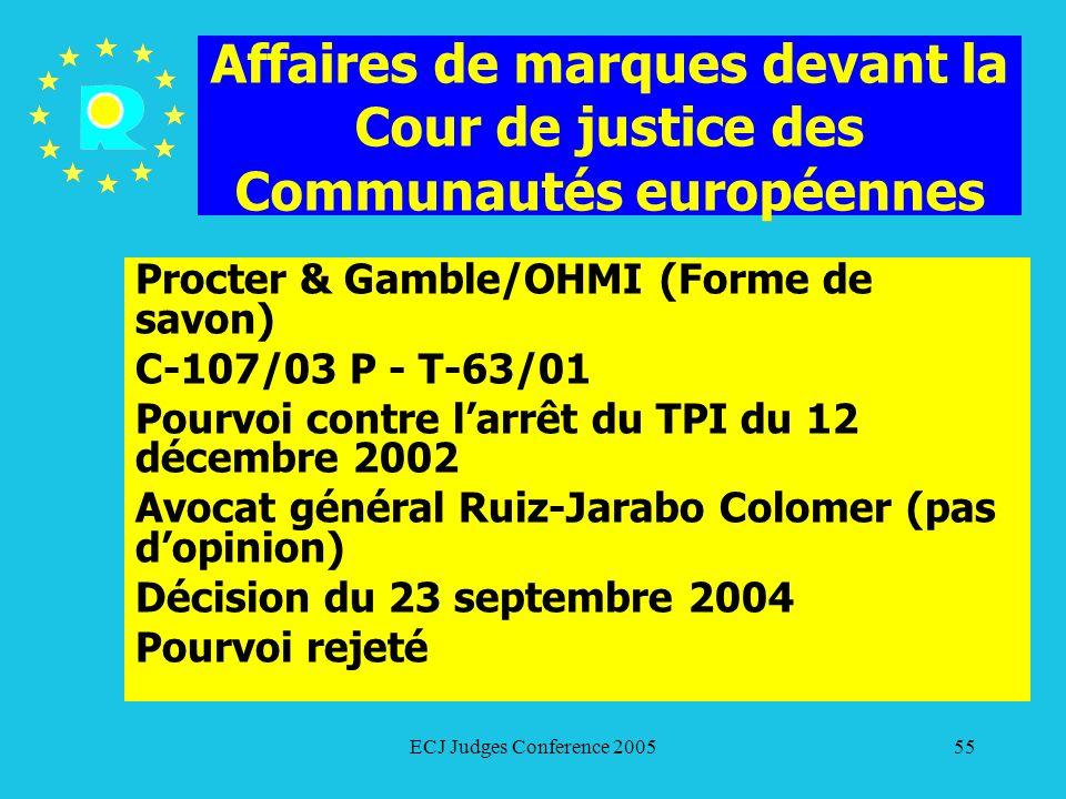 Affaires de marques devant la Cour de justice des Communautés européennes