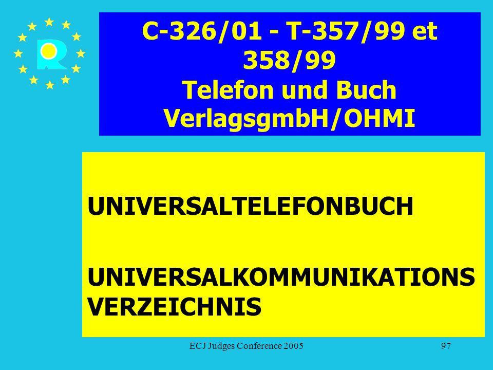 C-326/01 - T-357/99 et 358/99 Telefon und Buch VerlagsgmbH/OHMI