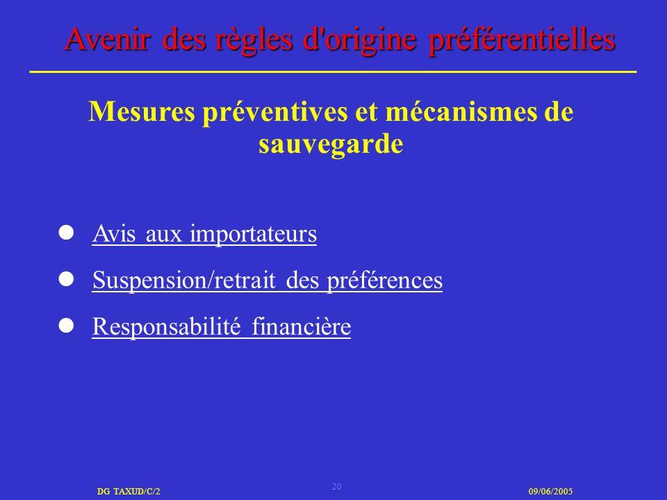Mesures préventives et mécanismes de sauvegarde
