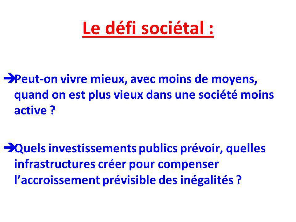Le défi sociétal : Peut-on vivre mieux, avec moins de moyens, quand on est plus vieux dans une société moins active