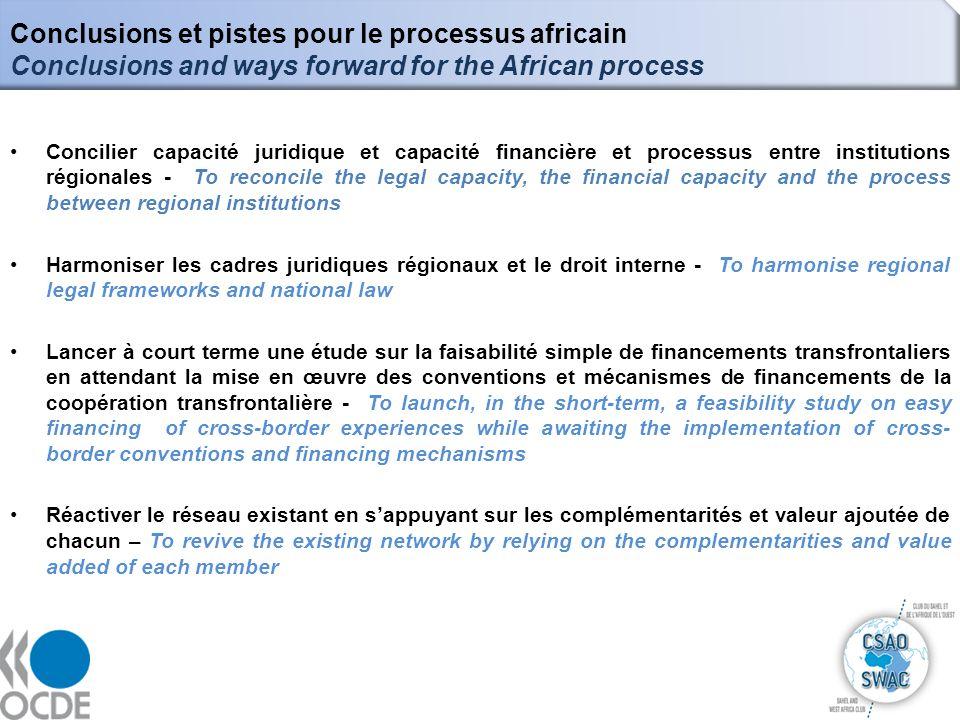 Conclusions et pistes pour le processus africain