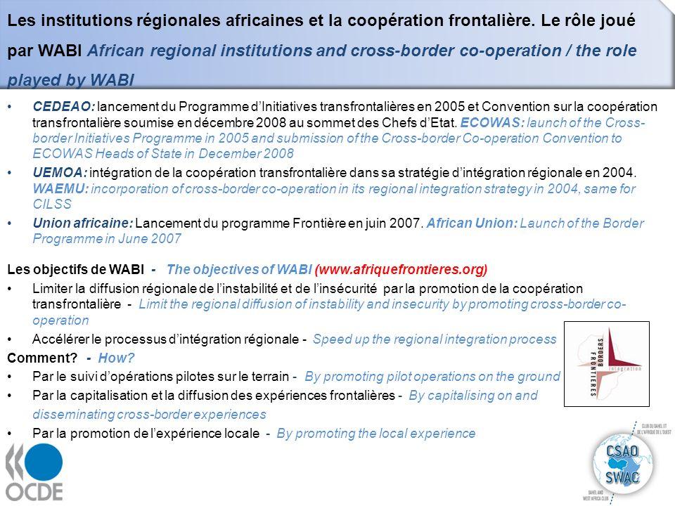 Les institutions régionales africaines et la coopération frontalière