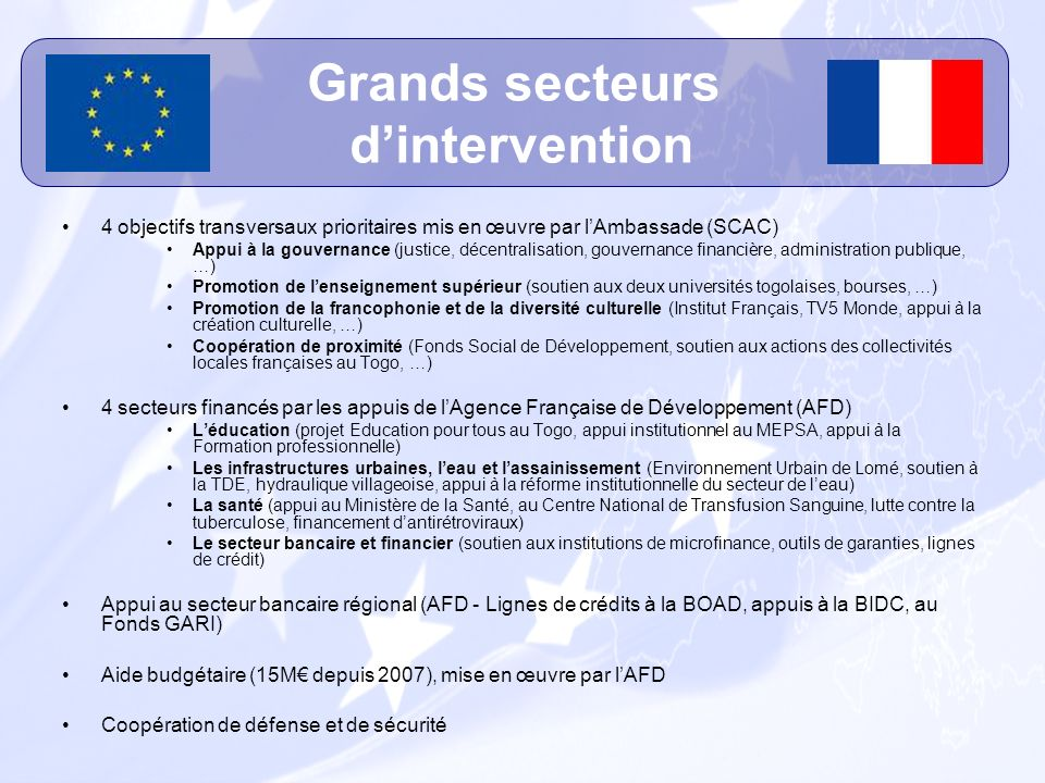Grands secteurs d'intervention