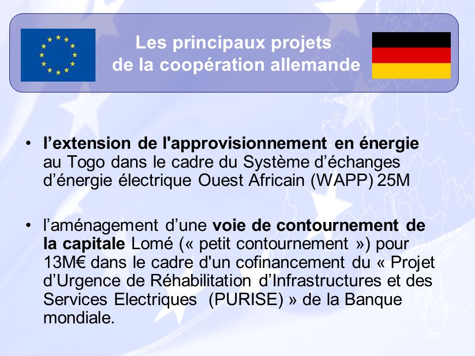 Les principaux projets de la coopération allemande