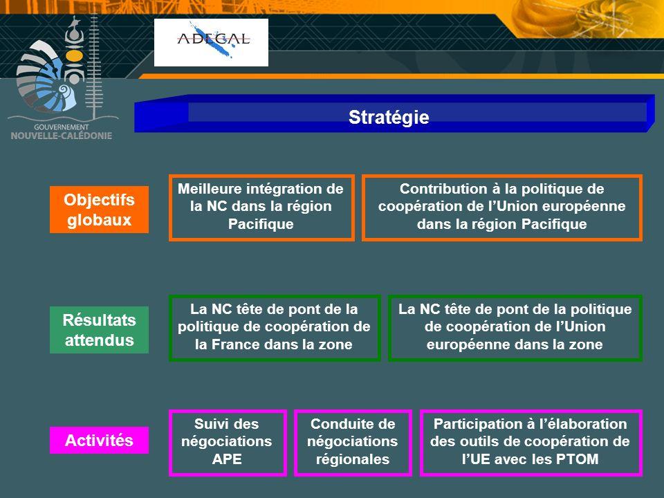 Stratégie Objectifs globaux Résultats attendus Activités