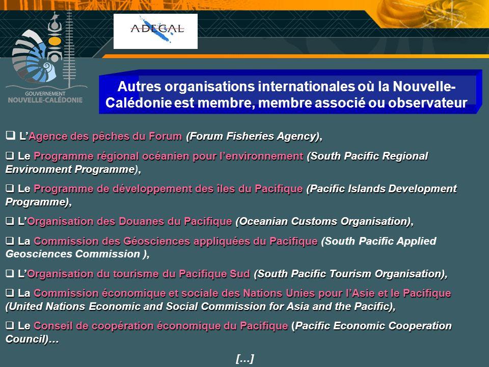 Autres organisations internationales où la Nouvelle-Calédonie est membre, membre associé ou observateur