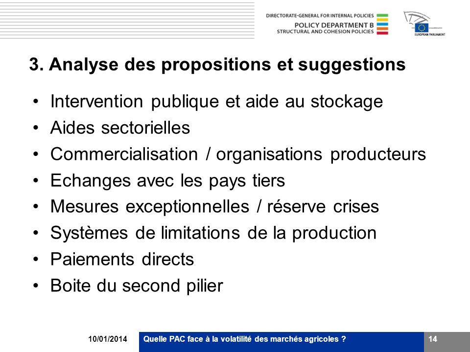 3. Analyse des propositions et suggestions