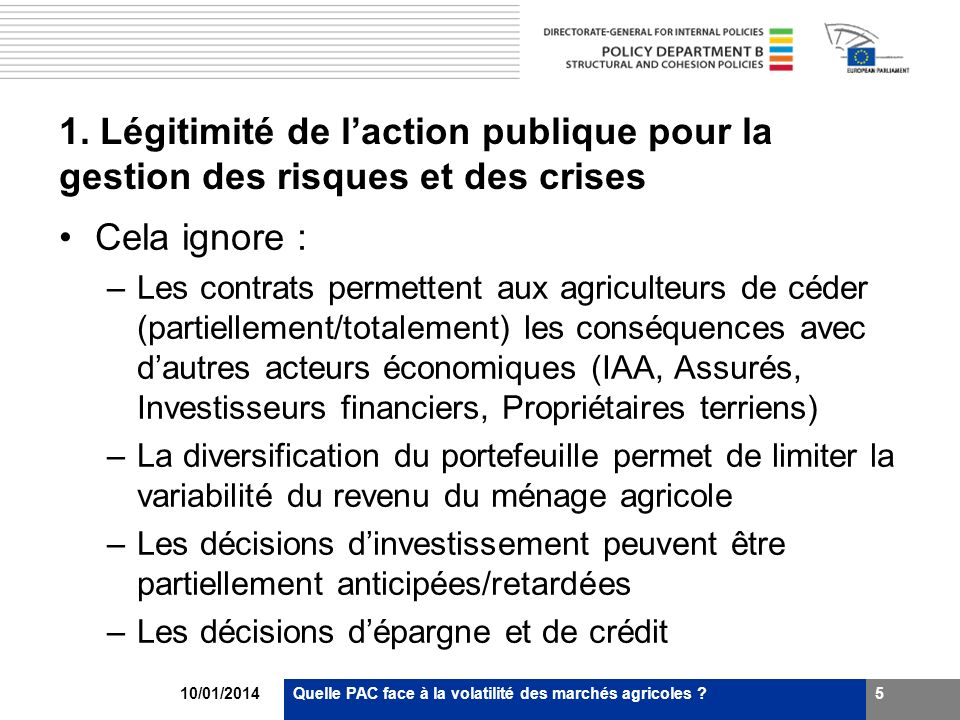 1. Légitimité de l'action publique pour la gestion des risques et des crises