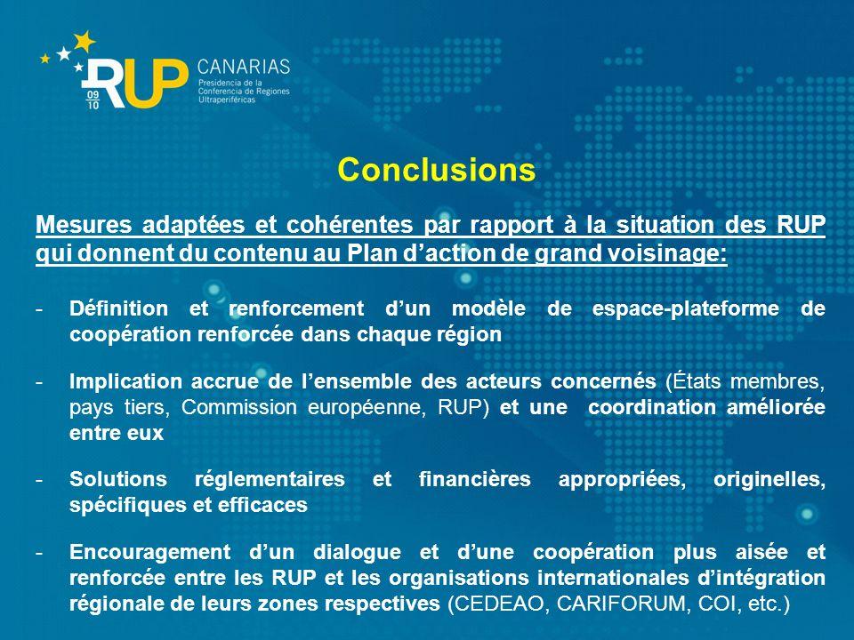 Conclusions Mesures adaptées et cohérentes par rapport à la situation des RUP qui donnent du contenu au Plan d'action de grand voisinage: