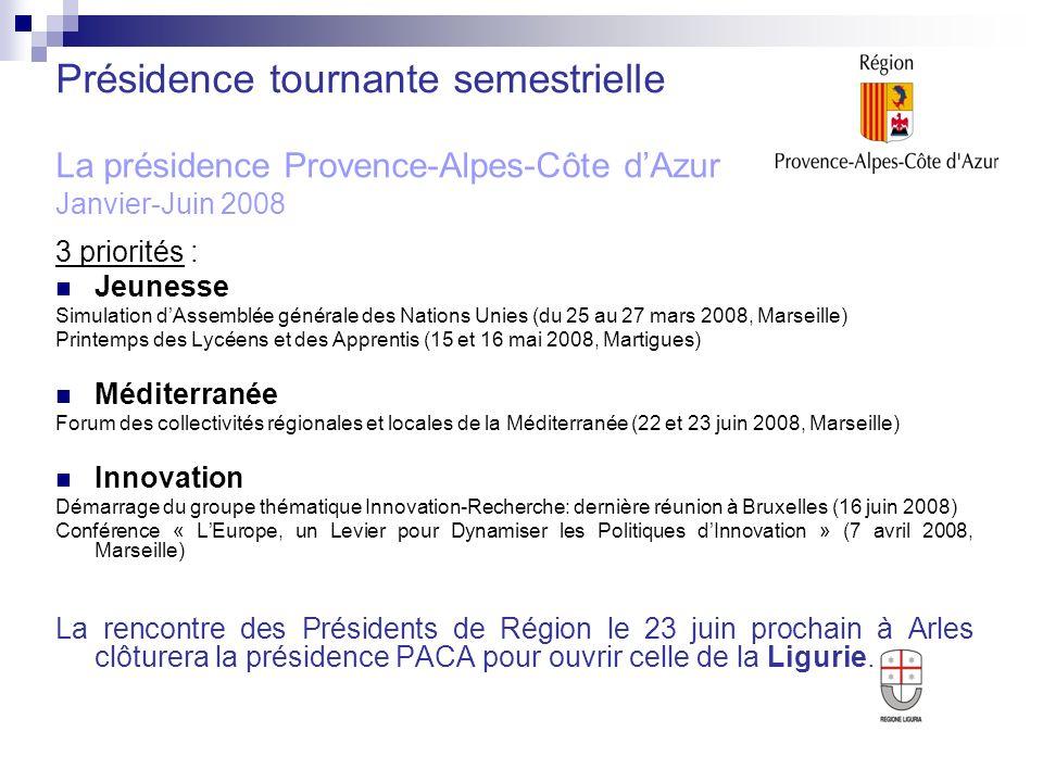 Présidence tournante semestrielle La présidence Provence-Alpes-Côte d'Azur Janvier-Juin 2008