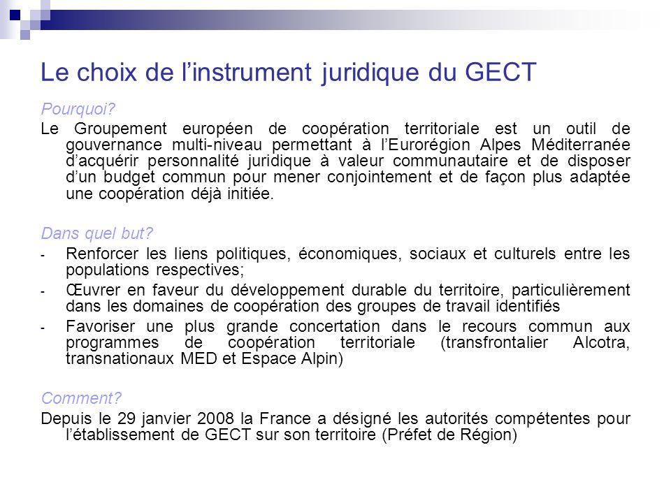 Le choix de l'instrument juridique du GECT