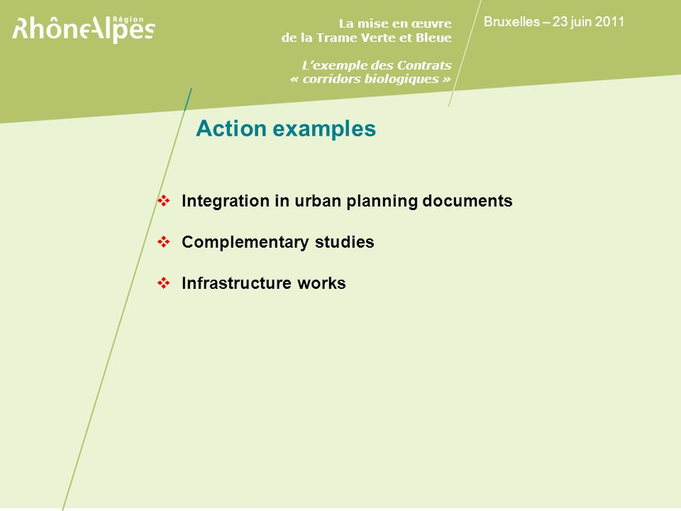 Action examples Integration in urban planning documents