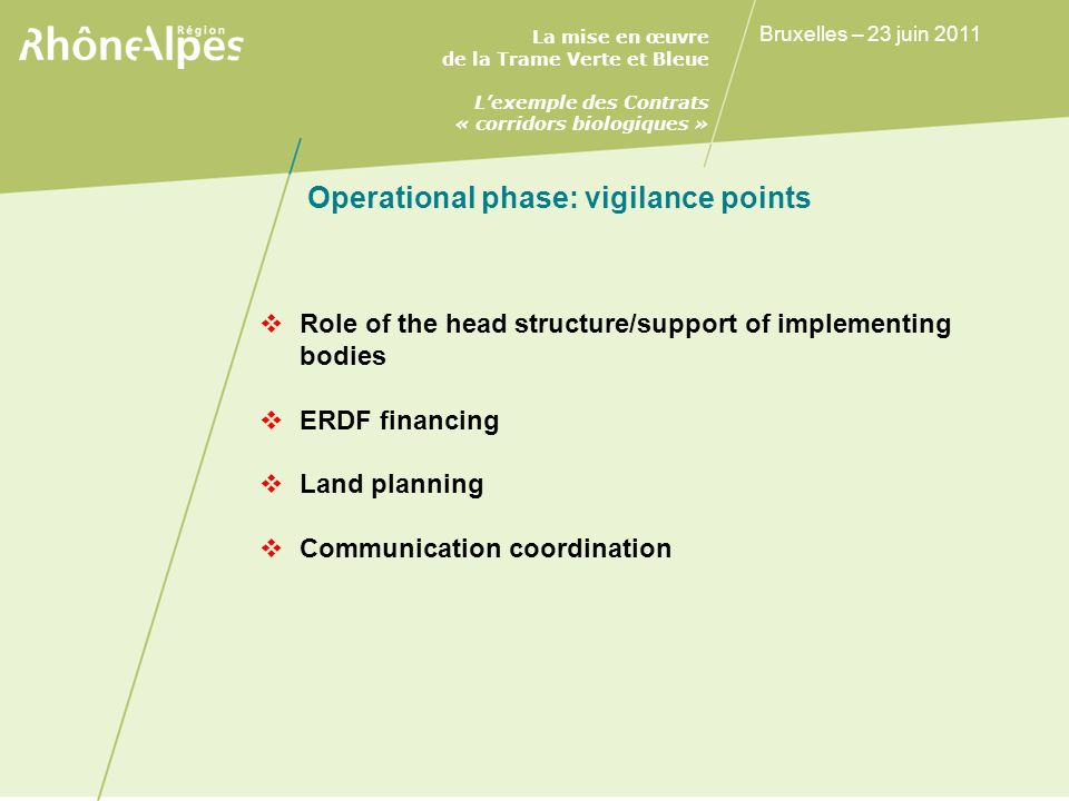 Operational phase: vigilance points