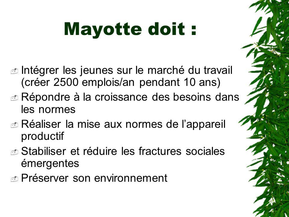 Mayotte doit :Intégrer les jeunes sur le marché du travail (créer 2500 emplois/an pendant 10 ans)