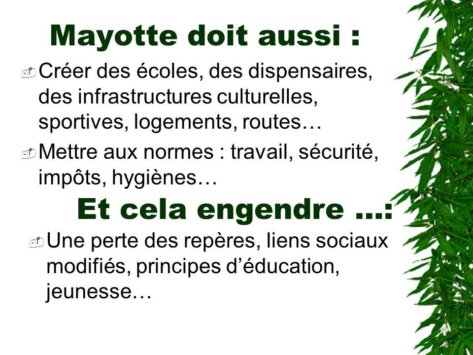 Mayotte doit aussi : Et cela engendre …:
