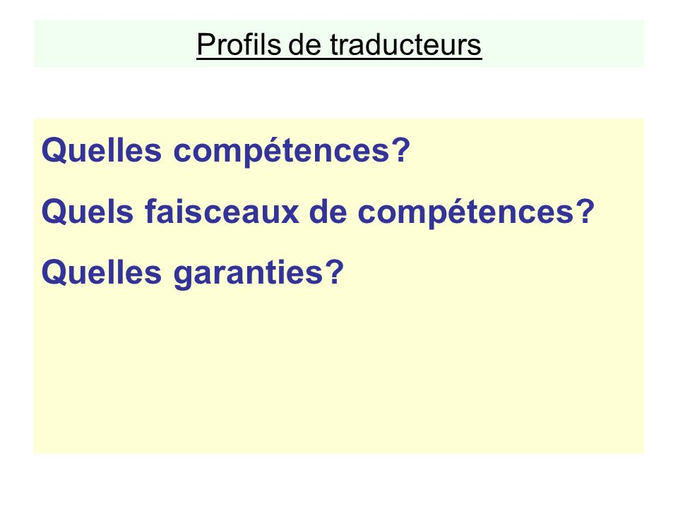 Profils de traducteurs