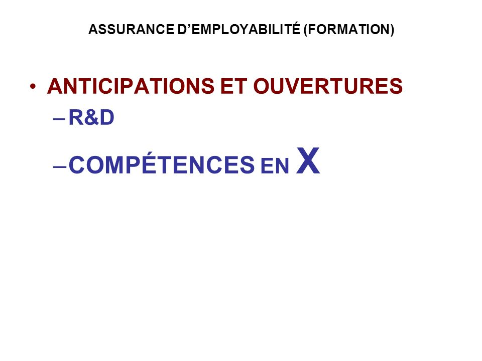 ASSURANCE D'EMPLOYABILITÉ (FORMATION)